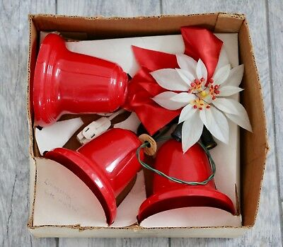 Set of 3 Vintage Red Electric Pointsetta Bells Light Up Retro Christmas Decor