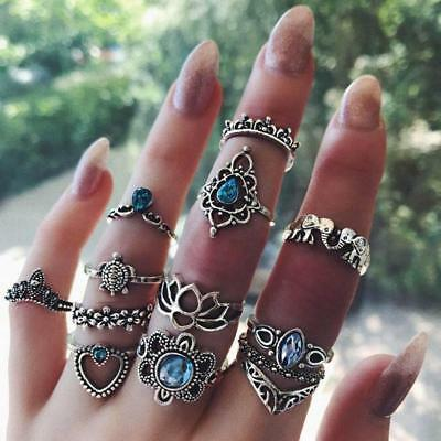 New 13pcs/set Vintage Diamond Embroidered Crown Starry Gemstone Rings Hot Sale