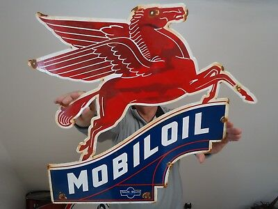 "Big Mobiloil Pegasus Porcelain Sign ""texlite-Dallas June 06 1939 Made In Usa"""