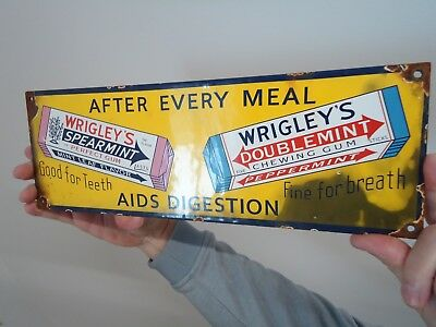 Old Vintage Wrigley's Spearmint And Doublemint Chewing Gum Porcelain  Sign