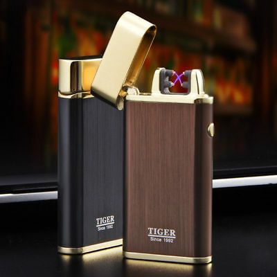 Rechargeable Electric Flameless Dual Arc Plasma Windproof USB Lighter Cigar Gift