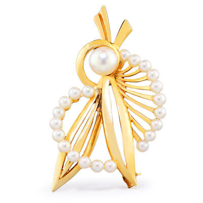 Vintage Mikimoto Cultured Pearl Brooch Pin 14K Yellow Gold 7.45mm
