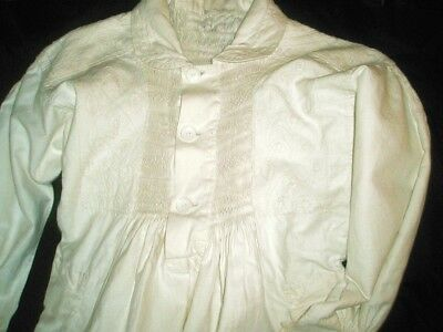 Antique English Linen Rural Hand Made Smock With Embroidery 1880 - 1900