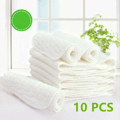 10 PCS Reusable Baby Modern Cloth Diaper Nappy Liners insert 3 Layers Cotton XP