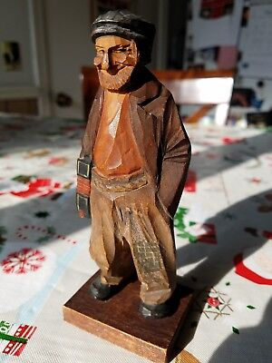 Vintage /Antique Hobo man with accordion,hand carved and painted,signed by Trygg
