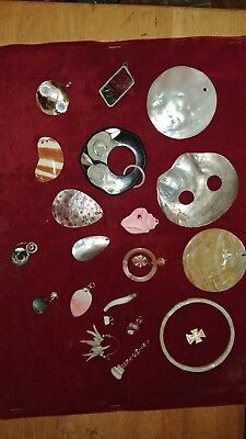 Huge Lot Of 21 Vintage Jewelry - Mother Of Pearl, Abalone, Etc - #71