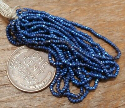 Sale! Antique French Steel Cut Bead Hank Tiny Micro Metal Blue Seed Faceted Rare