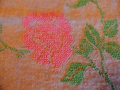 Vintage Embroidered Roses Linen Tablecloth Pink Green Tan Stripe 66x52 Farmhouse