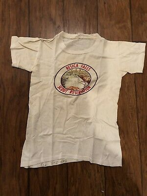 Rare 1960s Resica Falls Boy Scout Reservation T Shirt BSA Used Youth Small