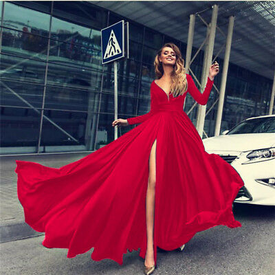 Womens V-Neck High Slit Maxi Dress Long Sleeve Evening Cocktail Prom Party Sexy