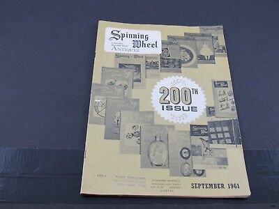 Sept 1961 SPINNING WHEEL Antiques Magazine : Mckee Glass, Seat Furniture ++