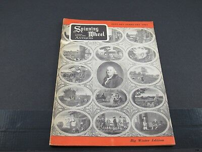 Jan-Feb 1963 SPINNING WHEEL Antiques Magazine : Buffalo Pottery, Clutha Glass