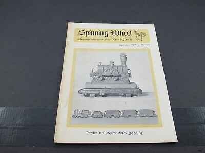 Sept 1965 SPINNING WHEEL Antiques Magazine : Pewter Ice Cream Molds +++