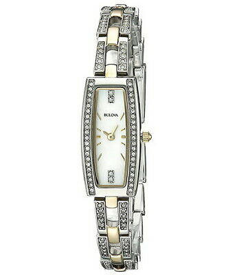 Bulova 98L214 White Mother of Pearl Dial Two Tone Womens Watch w/ Crystals