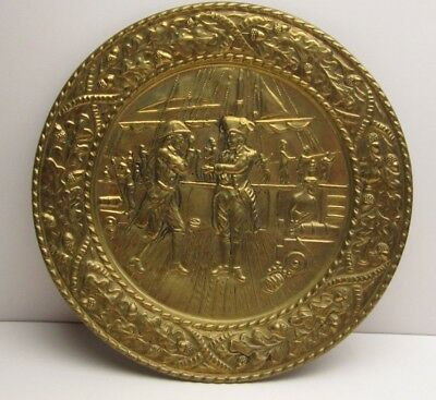 Vintage Embossed/Hammered Brass Plate Colonial Scene Ship Deck Soldiers Prisoner