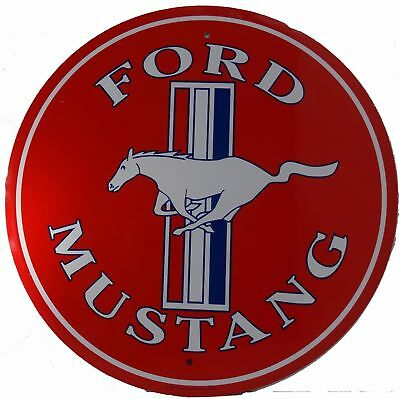 New Ford Mustang  Red Round Embossed Metal Sign Garage Mancave Collector