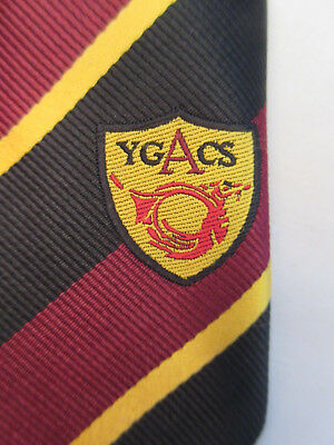 Ygacs Burgendy Black Gold Crested Striped 2.75 Inch Polyester Neck Tie