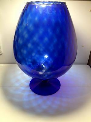 Mid century  blue optic Italian Empoli art glass snifter vase