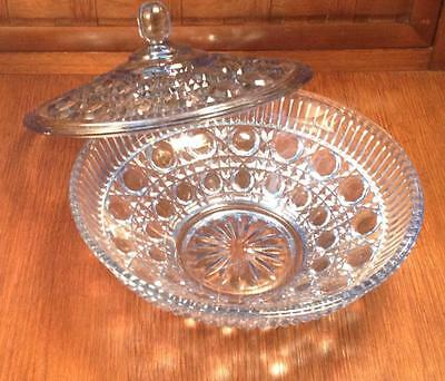 Windsor Royal Brighton blue Indiana glass candy dish