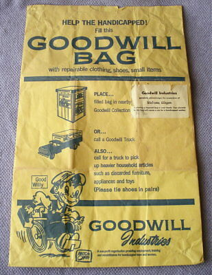 Vtg GOOD WILL Goodwill Industries Donation/Shopping Paper Bag Advertising