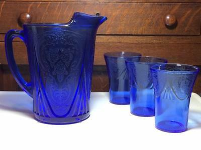 Hazel Atlas Cobalt Blue Royal Lace Pitcher and glasses