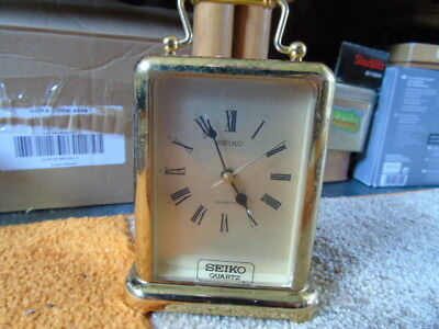 Seiko Quartz Vintage Carriage Clock QEJ145G Brass Plated Case With Alarm