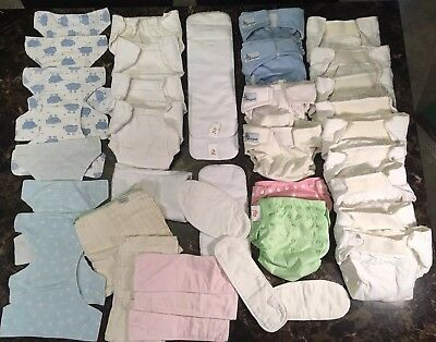 Huge 38pc Cloth Diapers Mixed Lot ~Soakers Liners Wraps Pads Baby Potty Training