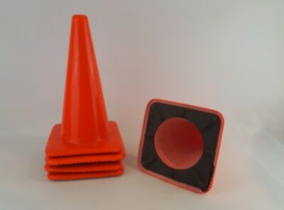 5 Count Of 18 Inch Tall Rubber Parking Cones Orange
