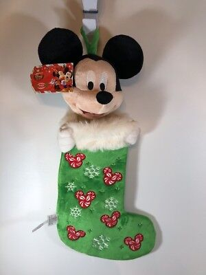 """Disney Store Mickey Mouse Christmas Stocking Plush Head Green Red NWT 22"""""""