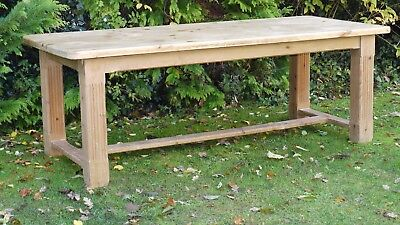 Large Antique Pine Dining Table 7ft X 3ft