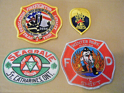 Fire Dept Patches Lot of 4 Seagrave Canada Winter Park FL Dedication  9/11/01