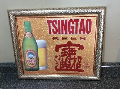Vintage Tsingtao Beer Advertising Bar Mirror Sign New Old Stock