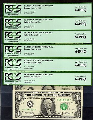 6 Consecutive Fr. 1929-G* 2003 $1 CHICAGO Star Note Federal Reserve PCGS 64PPQ