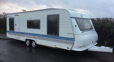 Hobby Exclusive 5 berth caravan twin axle end bedroom. Has awning