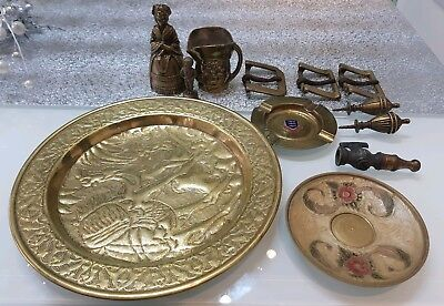 Collection/Job Lot 12x Stunning Vintage Solid Brass Items Belt Buckles, Handles