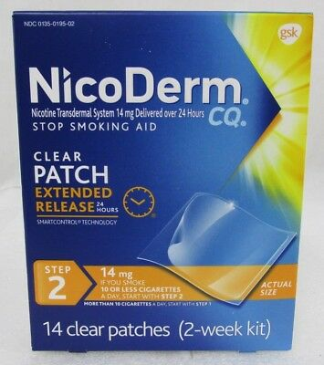NicoDerm CQ Step 2 Stop Smoking Nicotine Patch 14mg Clear Patches 2 Weeks 06/19