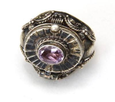 Vintage Poison Ring Amethyst & Sterling Silver Ornate Size 6.5 Statement Snuff