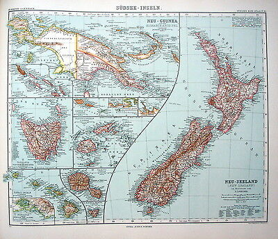MAP ENGRAVING 1905 JUSTUS PERTHES South Sea Islands