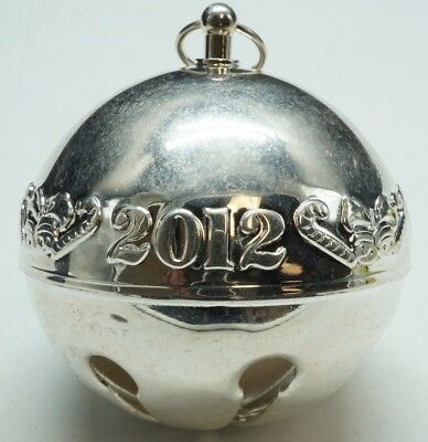"""Wallace / Silver Plated / Annual Sleigh Bell Ornament / 3"""" Diameter / 2012"""