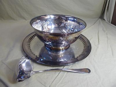 """Vintage WALLACE Silverplate 12"""" Punch Bowl, 17"""" Platter & Ladle"""