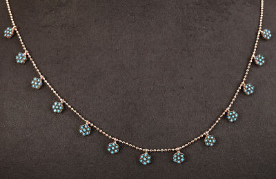 Blue Dots Turquoise Rose Gold Colored Over Sterling Silver Necklace #57223