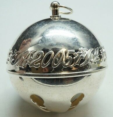 "Wallace / Silver Plated / Annual Sleigh Bell Ornament / 3"" Diameter / 2005"
