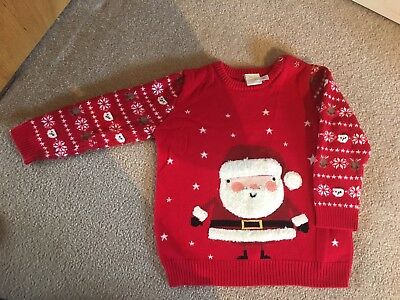 Baby Boy Mini Club Christmas Jumper - Age 9-12 Months in Excellent Condition