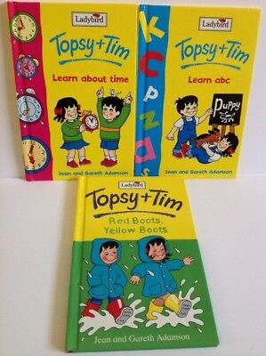 Ladybird Topsy & Tim x 3 Learn ABC Learn TIME & Red Boots Yellow Boots 1982-1998