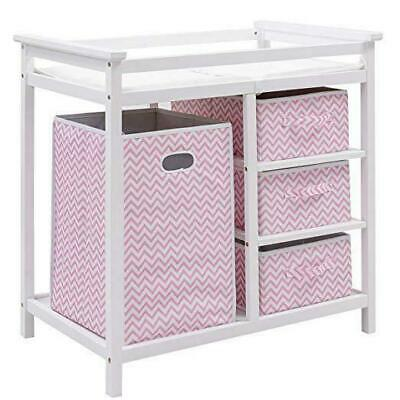 Baby Changing Table, Diaper Storage Nursery Station with Hamper and 3 Baskets (W