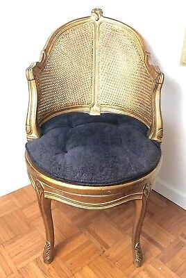 VTG 1940's French Country Louis XV Style Swivel Vanity Chair Cane Back Boudoir
