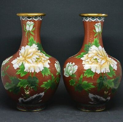 Vintage Chinese Cloisonne Vases (Pairs) ~ 8 inches tall ~
