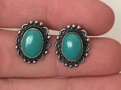 Vintage Navajo Sterling Silver & Turquoise Pair Clip On Earrings