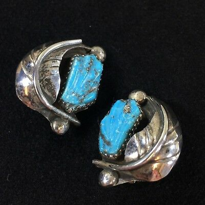 Vintage Silver and Turquoise Clip Style Earrings