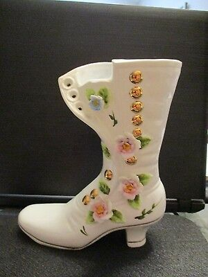 Vtg White Victorian Button Up Shoe W/ Raised Pink Flowers